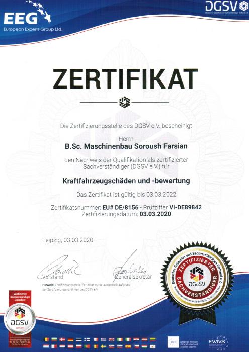 DGSV Zertifikat S DRIVE