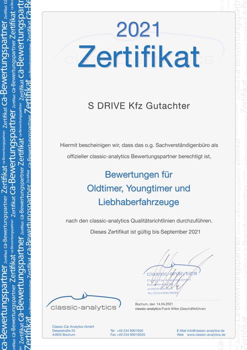 Classic Analytics Mitgliedsurkunde Kfz Gutachter S DRIVE